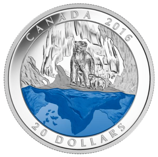 2016 $20 Fine Silver Coin - Master's Club Exclusive Iconic Canada - The Polar Bear